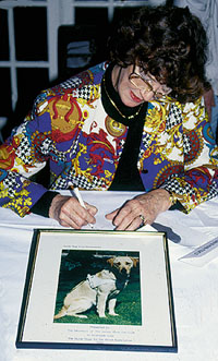 Lois Maxwell signs autographs at the 1993 JBIFC Christmas lunch