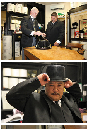 Oddjob lookalike Laval Siou at Lock's Hatters