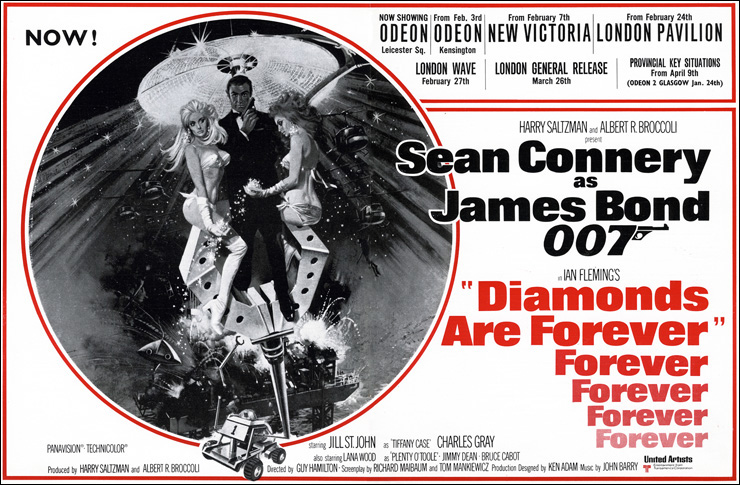 Diamonds Are Forever release dates 1971/72