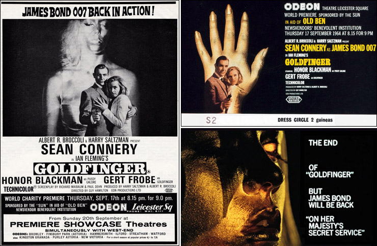 Goldfinger World Premiere advertisement, premiere ticket and original end title