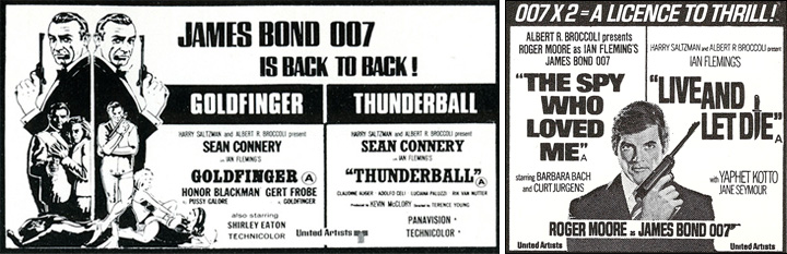 Goldfinger/Thunderball The Spy Who Love Me/Live And Let Die double bill newspaper adverts