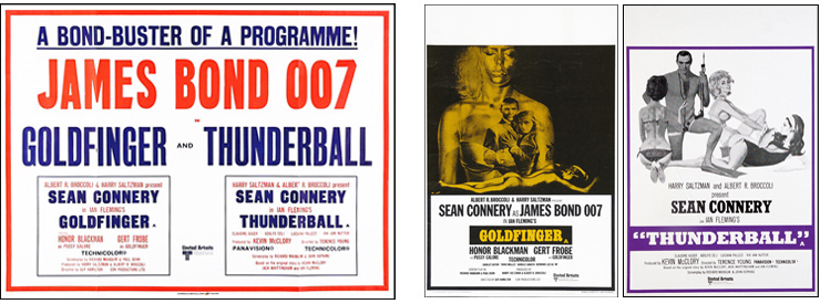 Goldfinger/Thunderball quad crown and double crown posters