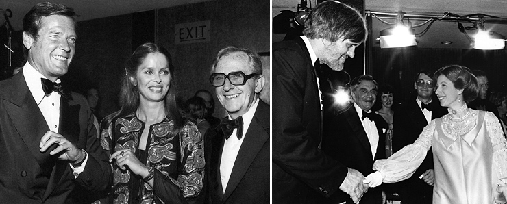 Roger Moore, Barbara Bach. Lewis Gilbert and Richard Kiel at the premiere of The Spy Who Loved Me Odeon Leicester Square 1977