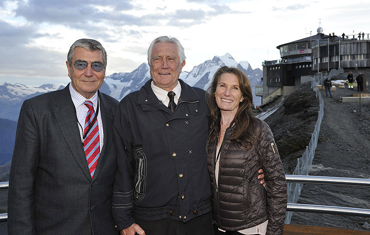George Lazenby flanked by Stuntman/Second Unit Director Vic Armstrong and his wife stuntwoman Wendy (daughter of OHMSS stunt arranger George Leech).