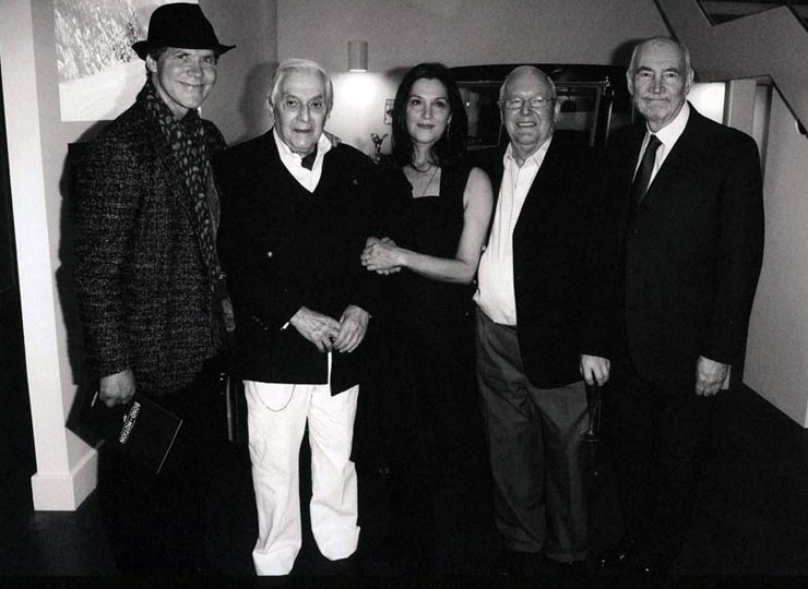 Production designers Dennis Gassner, Sir Ken Adam and Peter Lamont, with Michael G. Wilson and Barbara Broccoli at the opening of Bond In Motion (London, March 2014)