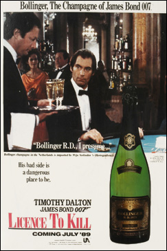 Bollinger poster Licence To Kill (1989)