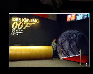 Entrance ot the Gold Room at Designing 007: Fifty Years of Bond Style at The Barbican