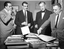Albert R. 'Cubby' Broccoli, Sean Connery, Ian Fleming and Harry Saltzman in 1962