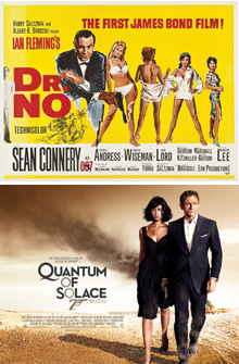 James Bond Royal Mail commemorative sheets - 007 Posters Dr. No & Quantum of Solace
