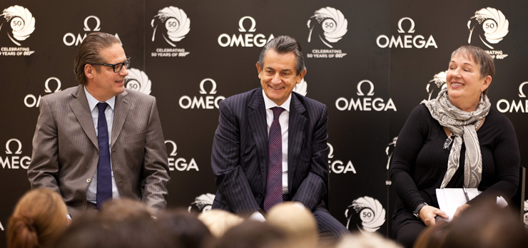 OMEGA's vice president and head of product development, Jean-Claude Monachon,OMEGA president Stephen Urquhart and Oscar-winning costume designer Lindy Hemming at the press conference