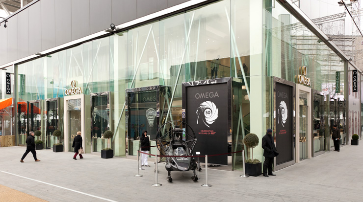 e Parahawk from The World is Not Enough is displayed outside the Westfield Stratford boutique.