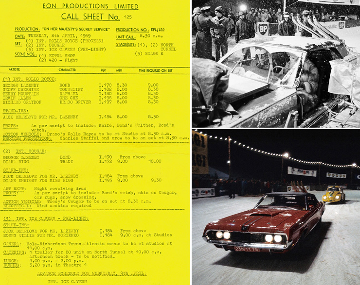 OHMSS call sheet/1969 Mercury Cougar XR7 convertible On Her Majesty's Secret Service (1969)