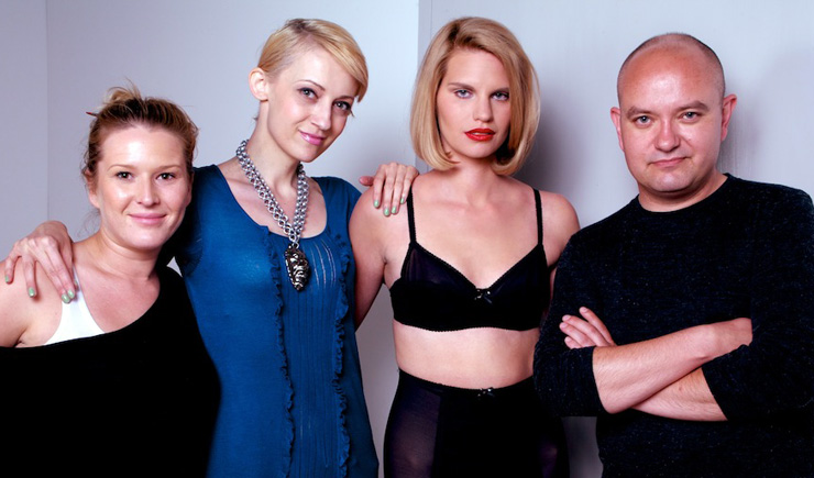 Makeup artist Kristina Hošnjak, stylist Iva Tuđa, model Lana Petanić and creative director Vladimir Cvetković Sever at the Croatian DIAMONDS ARE FOREVER photoshoot in the Jadran Film Studios.