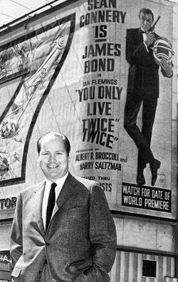 d4378bcfe4 NEW YORK 1967: United Artists executive David Picker photographed in front  of the 260-feet wide by 60-feet tall animated billboard, which dominated  the ...