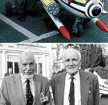 Ken Wallis and Desmond Llewelyn at the 'James Bond In The Cinema 30th Anniversary Event' held at Pinewood Studios in 1992.