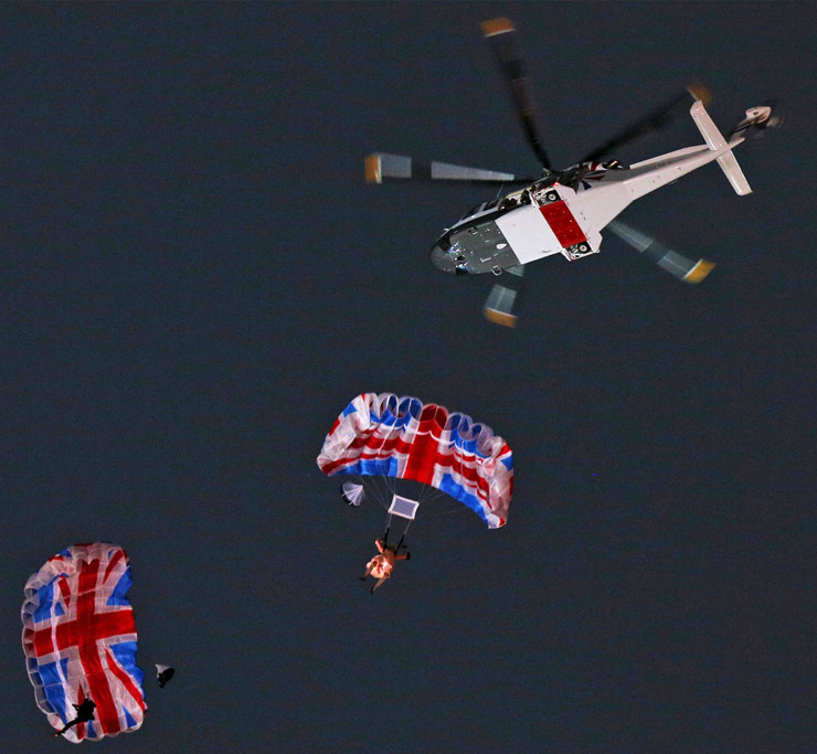 London 2012 opening ceremony - The Queen and James Bond parachute into the stadium