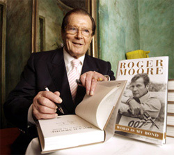 Sir Roger Moore signs copies of My Word is My Bond in 2008