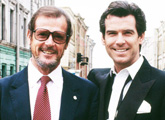 Sir Roger Moore and Pierce Brosnan