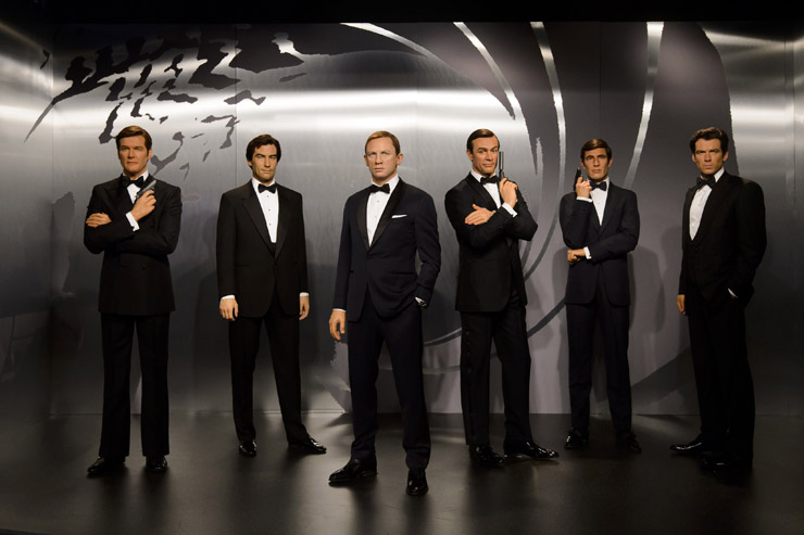 All six James Bond's in wax at Madame Tussauds London