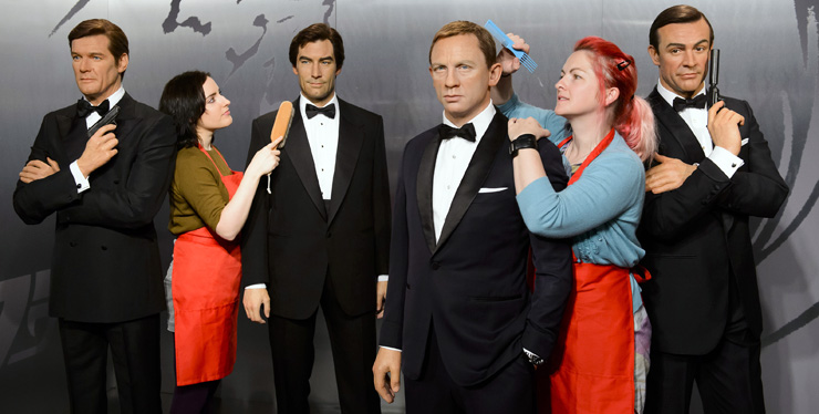 James Bond waxworks prepared for display at Madame Tussauds