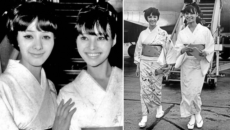 Mie Hama and Akiko Wakabayashi photographed shortly before filming on You Only Live twice commences in1966