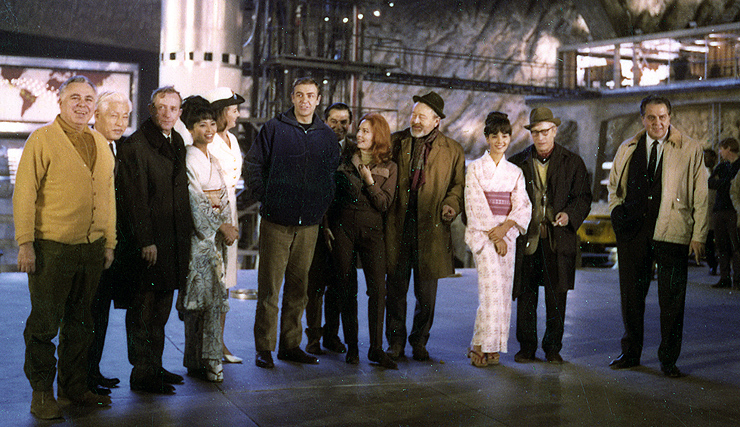 Cast and Crew of You Only Live Twice on Ken Adam's volcano crater set at Pinewood Studios 1966